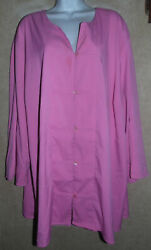 Cute Pink Maggie Barnes Long Sleeve Blouse wLoop Close Buttons - 4X