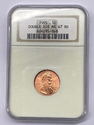 1995 1c Lincoln Cent Penny Mint Error Coin Ngc Ms67 Red Double Die