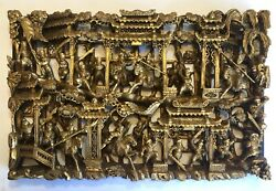 Antique Chinese Horse Battle Warrior Chaozhou Style Gilt Wood Carved Panel
