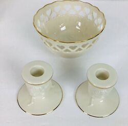 Lenox Pierced Heart Ivory China Bowl And 2 Candlesticks W/ Embossed Rose Blossom
