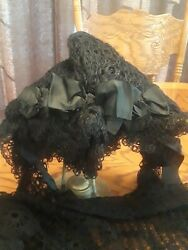 Antique Black Lace Crochetted Mourning Bonnet & Shaw(circa late 1800-early 1900)