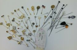 Lot Of 64 Vintage To Modern Assorted Stick Pins Hat Pins - Estate Jewelry
