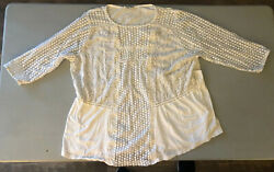 lucky brand 2x top White Textured Boho Cute 34 Sleeves