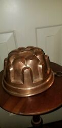 Antique French Hammered Copper Dessert Jelly Cake Mold Dome 8andrdquo Tin Lined