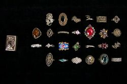 100pc Lot Of Sterling Silver Jewelry With Diamonds Semi- And Precious Stones