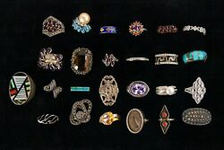 107 Pc Lot Of Sterling Silver Jewelry With Semi/precious Stones
