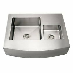 Noah's Collection Brushed Stainless Steel Commercial Double Bowl Sink With An...