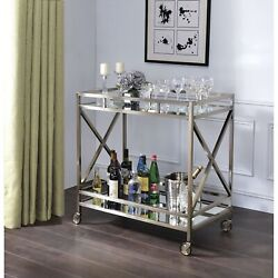 Metal Framed Two Tier Serving Cart With X Shaped Side Panels, Silver And Clear