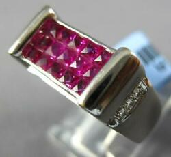2.06ct Diamond And Aaa Ruby 18kt White Gold Round And Princess Rectangular Mens Ring