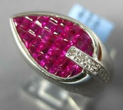 3.15ct Diamond And Aaa Ruby 18kt White Gold 3d Princess Tear Drop Mens Pinkie Ring