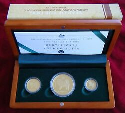 2006 Australian Lunar Gold Series - Year Of The Dog - Three Coin Proof Set Rare