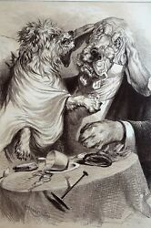 Veterinarian 1886 ANGRY DOG as PATIENT DOCTOR VET w SPECTACLES Matted Print