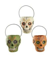 Sugar Skull Buckets Set Of 3 Small Day Of The Dead Bethany Lowe Tj8664
