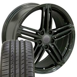 58886 Black 18 Wheel And Tire Set Fit Audi And Vw, Rs6 Style Et45 245/40zr18 Tires