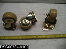 Qty=3 3 Brass Finish Poly Coated Swivel Plated Casters 3 D 1-1/2 W 4 H