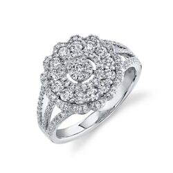 14k White Gold Diamond Scallop Cocktail Ring Womens Right Hand Round Cut Size 7