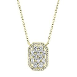 14k Yellow Gold Marquise Pear Diamond Pendant Necklace Dog Tag 8 Side Rectangle