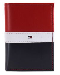 Tommy Hilfiger Men's Premium Leather Trifold Wallet Rfid Red Navy 31TL110022 $24.95