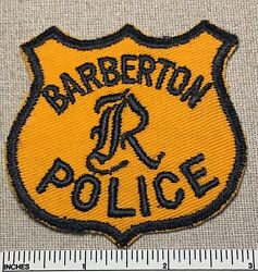 Vintage 1950s Barberton Police Twill Embroidered Badge Patch Ohio Uniform Shield