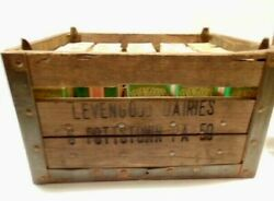 Old Levengood Dairy, Pottstown, Pa Wooden Milk Crate With 20 Pint Size Cartons