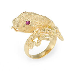 Snake Serpent Ring Vintage 18k Yellow Gold Ruby Eyes Fine Estate Jewelry