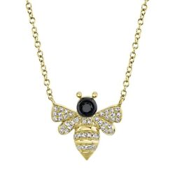 14k Yellow Gold Diamond Bee Pendant Necklace Womens Black And White Round Cut