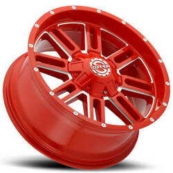 4ea 20x9 Scorpion Wheels Sc-18 Neon Red Milled Off Road S7