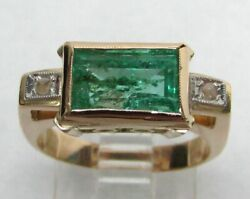 Beautiful Vintage 18k Gold And Natural 1.9ct Colombia Emerald Ring Size 6 3/4