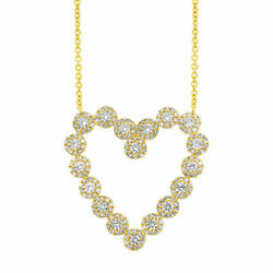 14k Yellow Gold Diamond Heart Necklace Round Cut Pendant Womens 1.14 Ct Natural