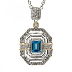 Andrea Candela 18k Yellow Gold Diamonds And Blue Topaz Halo Necklace Acp305/25-bt