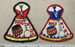 Two Vintage 1950s Mida Michigan Indian Dance Association Patches Boy Scout Oa