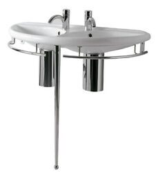 Isabella Collection Semi-circular Double Basin China Console With Chrome Over...
