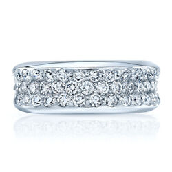Womens Round Diamond Concave Platinum Ring Wedding Band Wide Natural 1.37 Ct 6