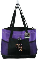 Puppy Dog Kitten Paw Prints Heart Monogram Bag Purple Gemline Select Zipper Tote $15.25