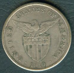 1910-s Us Administration Philippines 1 Peso Silver Coin - Stock B1