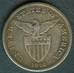 1910-s Us Administration Philippines 1 Peso Silver Coin - Stock B8