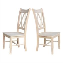 Fast Furnishings Set Of 2 - Traditional Unfinished Wood Dining Chairs
