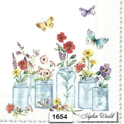 1654 Two Individual Paper Luncheon Decoupage Napkins - Jars Flowers