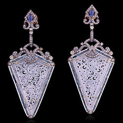 Sapphire And Carved Jade Dangle Earrings 18k Gold 925 Silver Diamond Jewelry
