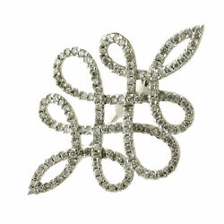 Solid 18k White Gold 0.5ct Pave Diamond Designer Brooch Women's Fashion Jewelry