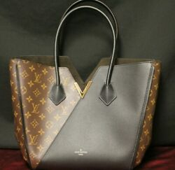 Auth Louis Vuitton Kimono MM Black Leather Monogram Canvas Shoulder Bag