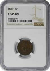 1877 Indian Cent Ef45bn Ngc