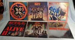 6 Vintage & Original KISS Records 33rpm Albums 1974-78 love gun hotter than hell