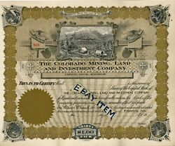 1910 Walsenberg Colorado Mining Land Investment Stock Certificate Rocky Mountain