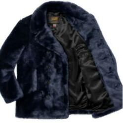 Schott Supreme Collaboration Fur Pea Coat Jacket Outer Size S Menand039s Navy Rare