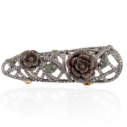 3.27ct Pave Diamond 18k Gold 925 Sterling Silver Knuckle Long Ring Jewelry
