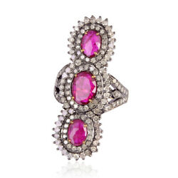2.7ct Ruby And Pave Diamond Cocktail Ring 18k Gold 925 Silver Women Jewelry