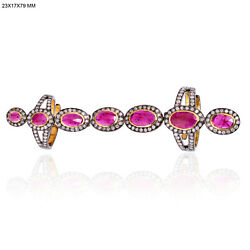 3.85t Ruby And Diamond Full Finger Long Ring 18k Gold 925 Silver Jewelry