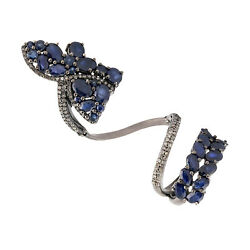 925 Sterling Silver 8.52ct Pave Sapphire Diamond Designer Long Ring Gift Jewelry