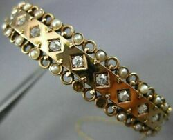 Antique Wide .60ct Diamond And Aaa South Sea Pearl 14kt Rose Gold Bangle Bracelet